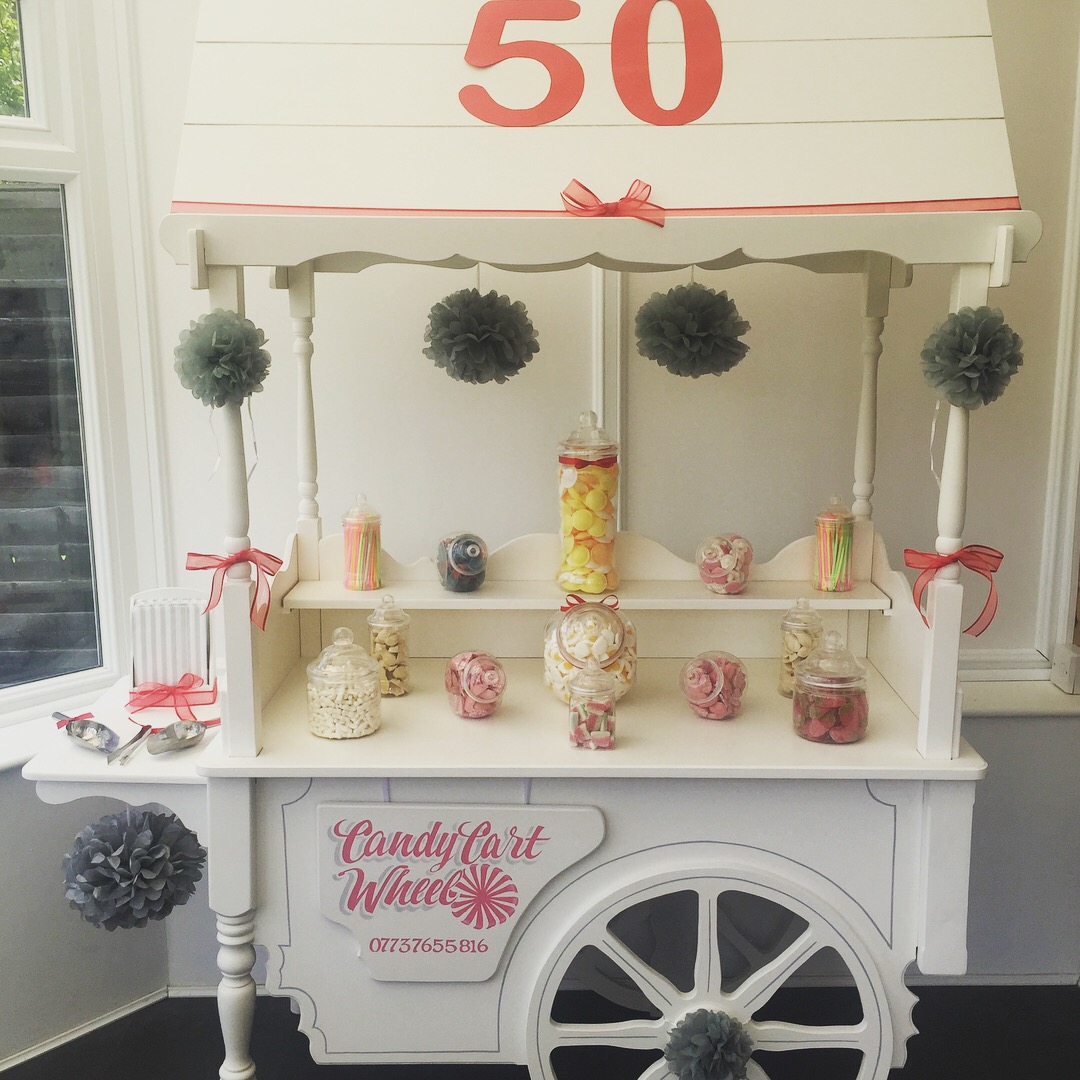 50th Birthday Red & Silver Sweet Cart