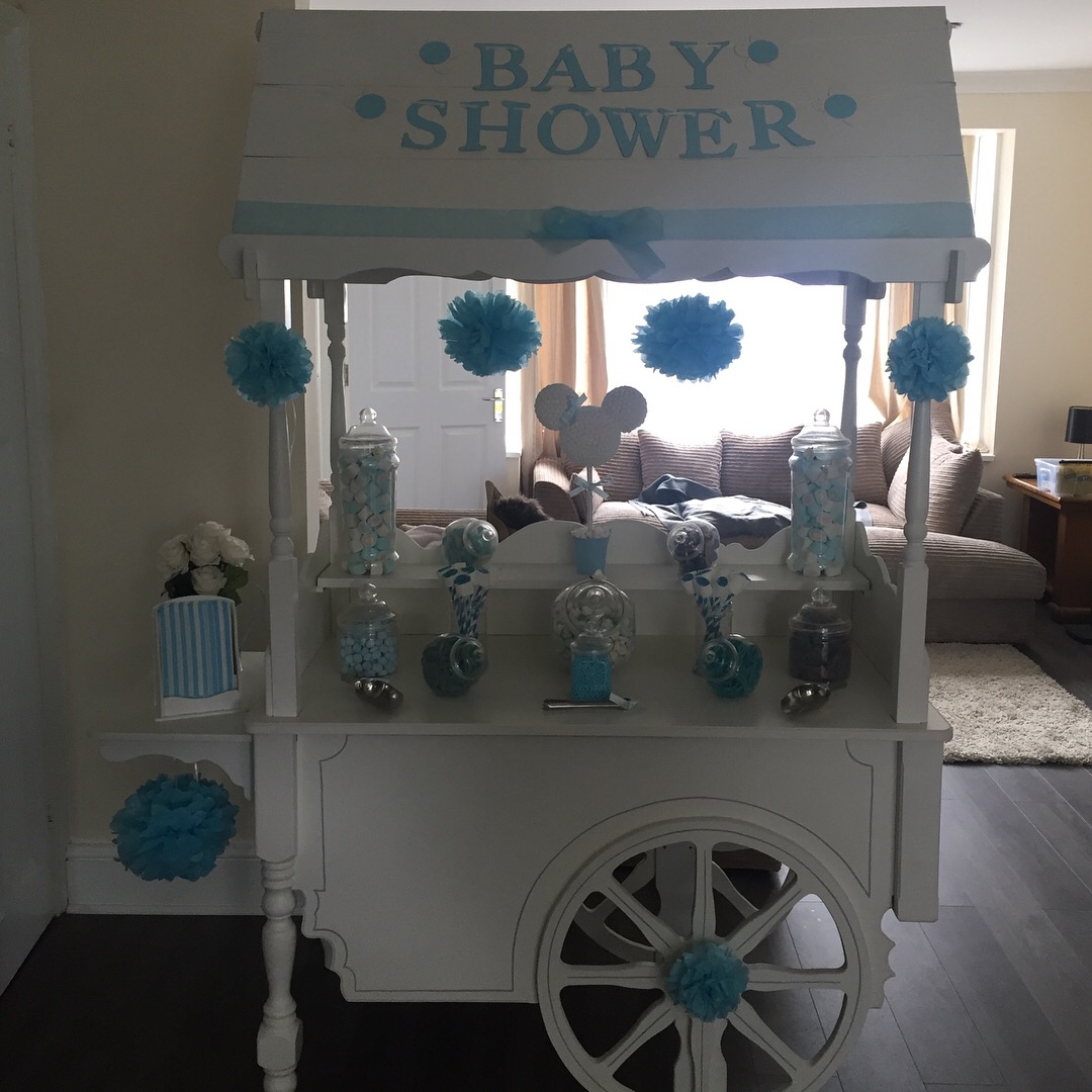 Blue Baby Shower Sweet Cart