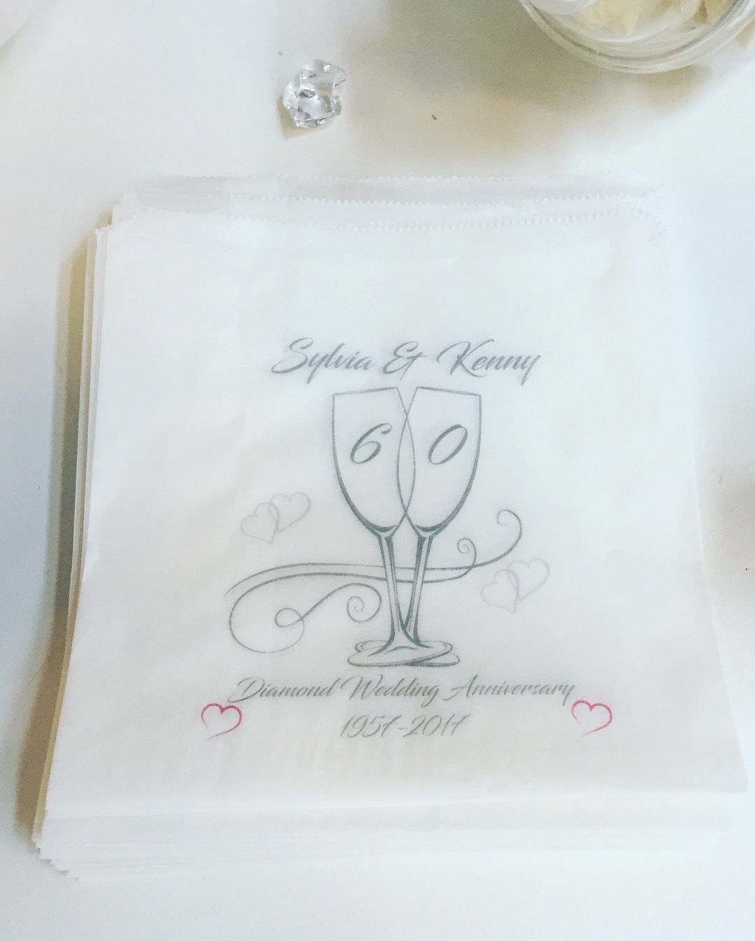 Personalised Diamond Wedding Anniversary Sweet Bags