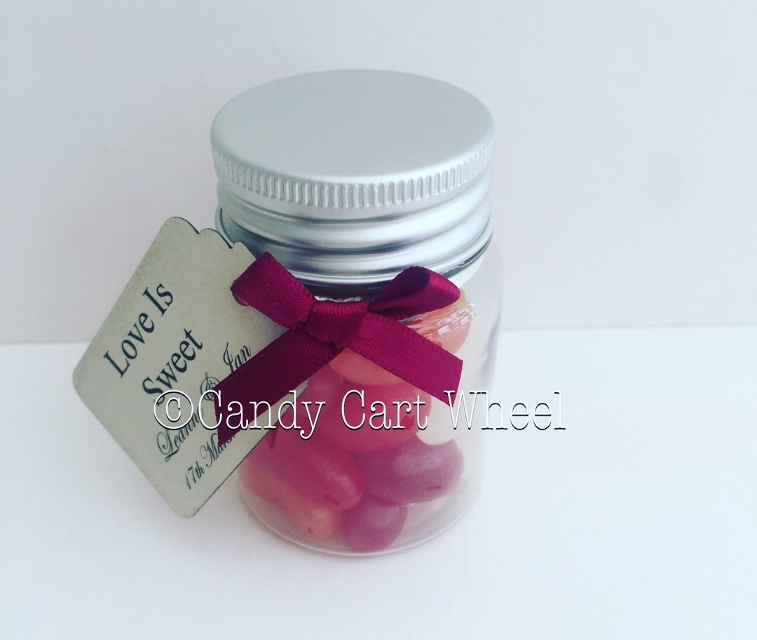 Miniature Personalised Jelly Bean Sweet Jar Favours